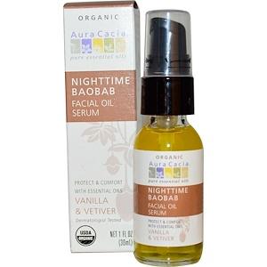 Аура Кация, Nighttime Baobab Facial Oil Serum, Vanilla & Vetiver, 1 fl oz (30 ml) отзывы