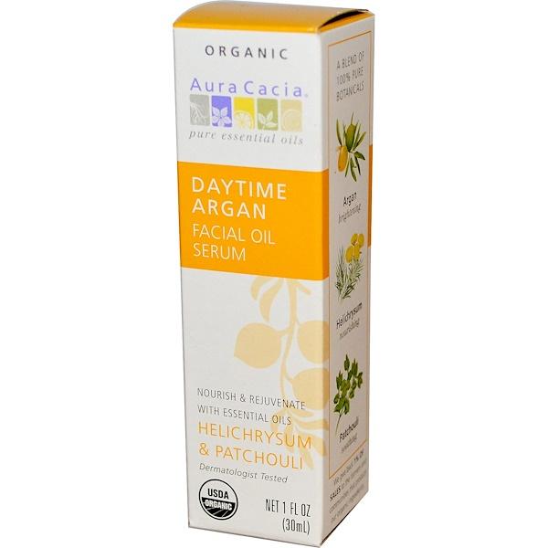 Aura Cacia, Daytime Argan Essentials Facial Oil Serum, Helichrysum & Patchouli  , 1 fl oz (30 ml) (Discontinued Item)
