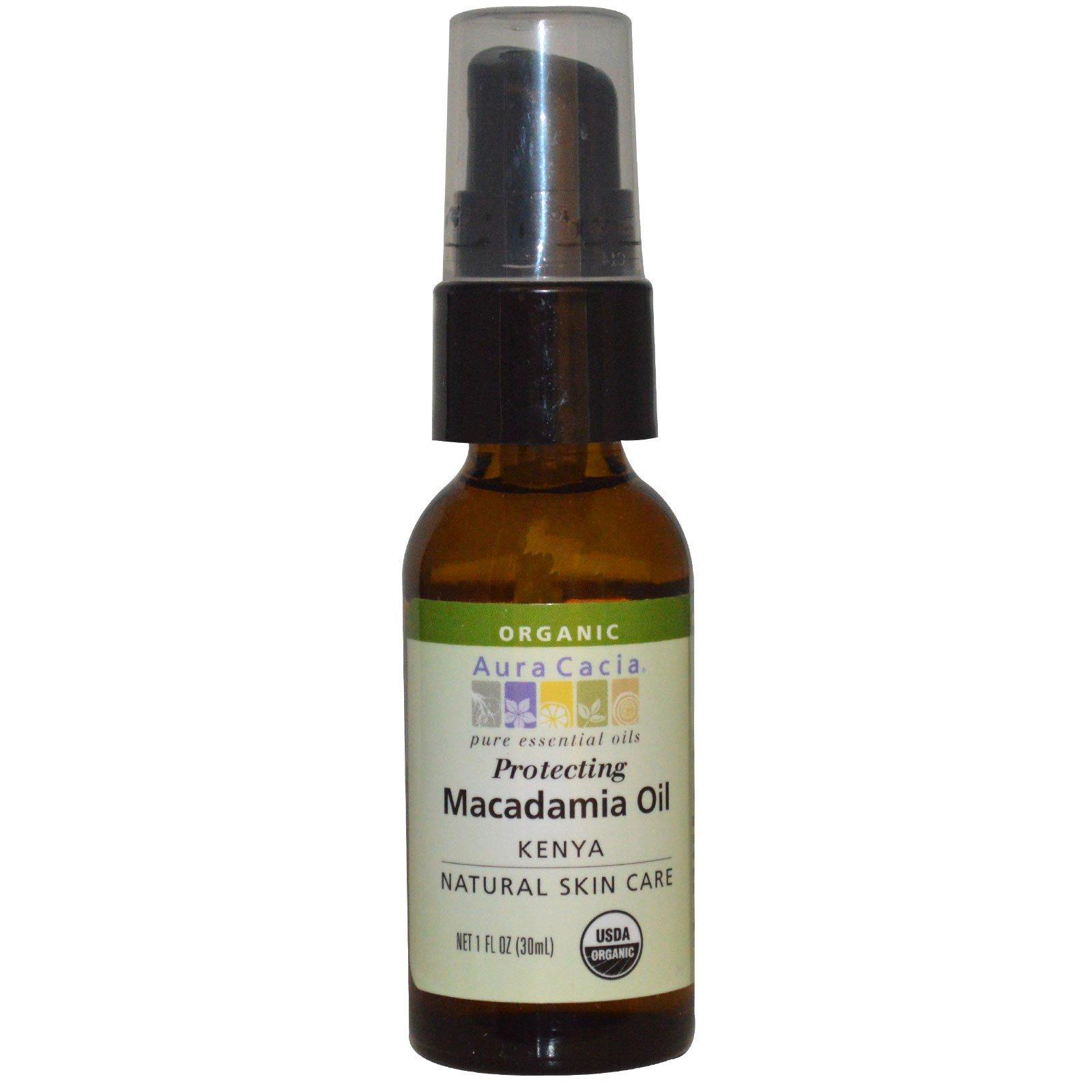 Aura Cacia, Органика, Натуральные средства для ухода за кожей, Масло макадамии, 1 жидкая унция (30 мл)