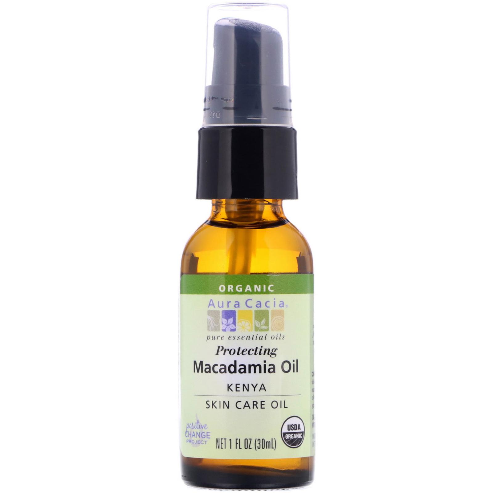 02d77a504cf Aura Cacia, Pure Essential Oil, Organic Natural Skin Care, Macadamia Oil, 1  fl oz (30 ml)