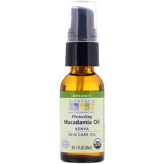 Aura Cacia, Pure Essential Oil, Organic Natural Skin Care, Macadamia Oil, 1 fl oz (30 ml)