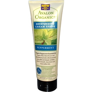 Avalon Organics, 모이스처라이징 크림 셰이브, 페퍼민트, 8 온스 (227 그램)