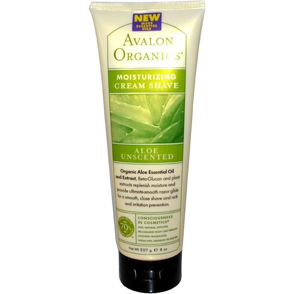 Avalon Organics, Moisturizing Cream Shave, Aloe Unscented, 8 oz (227 ml)