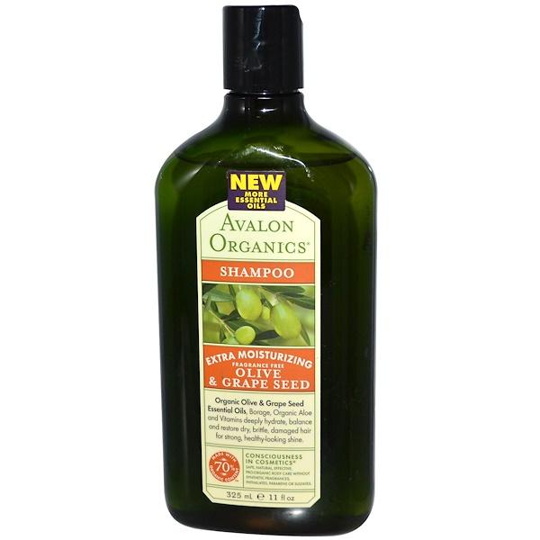 Avalon Organics, Extra Moisturizing Shampoo, Olive & Grape Seed, Fragrance Free, 11 fl oz (325 ml) (Discontinued Item)