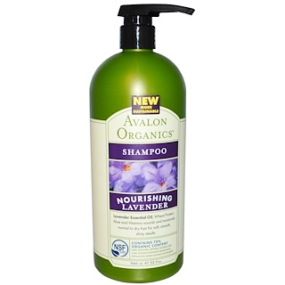 Avalon Organics, Питательный шампунь с экстрактом лаванды, 32 жидких унции (946 мл)