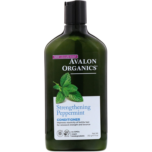 Avalon Organics, Conditioner, Strengthening Peppermint, 11 fl oz (312 ml)