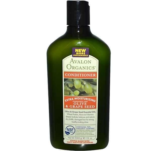Avalon Organics, Conditioner, Extra Moisturizing, Olive & Grape Seed, Fragrance Free, 11 oz (312 g) (Discontinued Item)