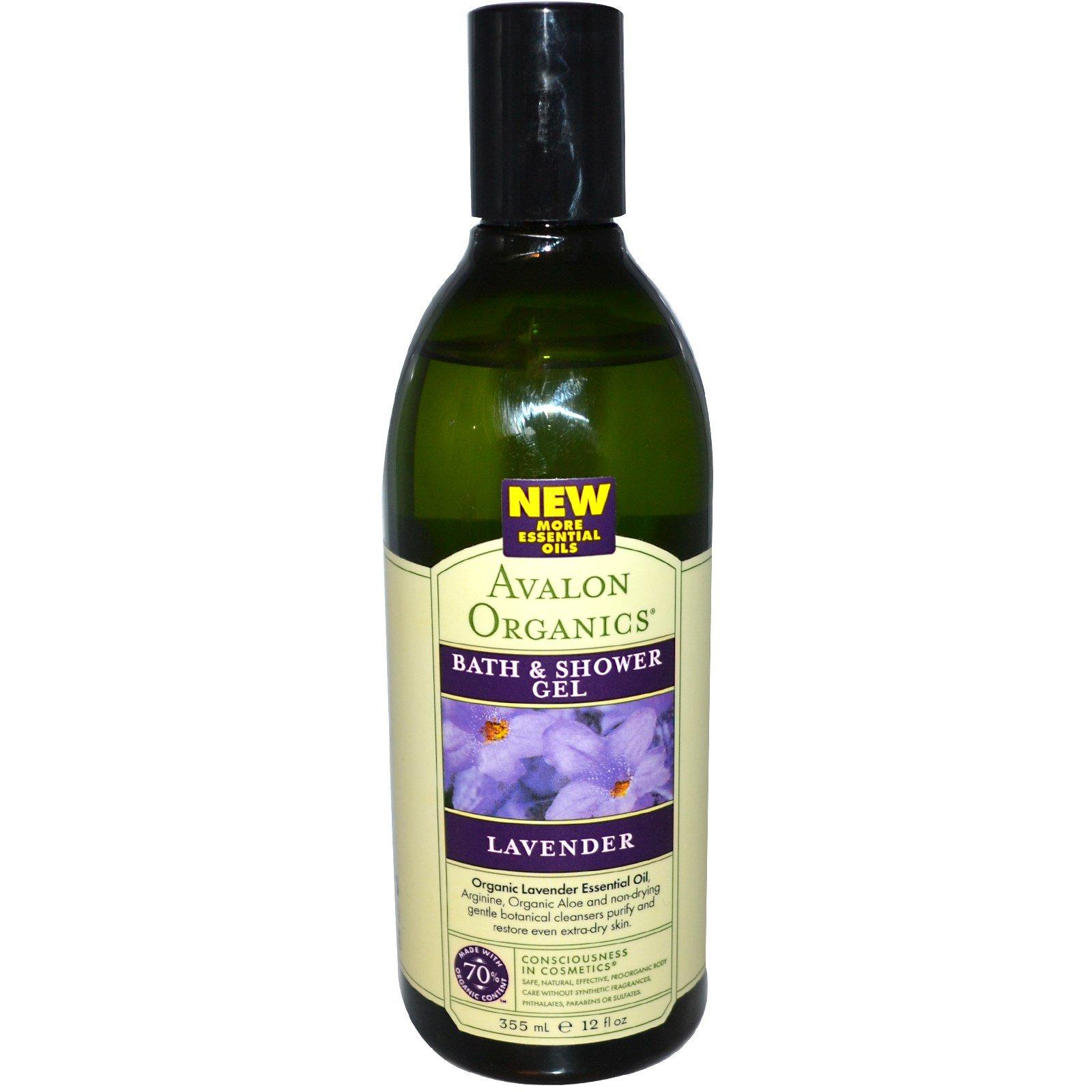 Avalon Organics, Гель для ванны и душа с лавандой, 12 жидких унции (355 млl)