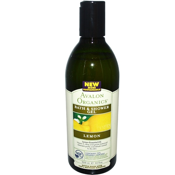 Avalon Organics, Bath & Shower Gel, Lemon, 12 fl oz (355 ml)
