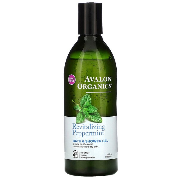 Bath & Shower Gel, Revitalizing Peppermint, 12 fl oz (355 ml)