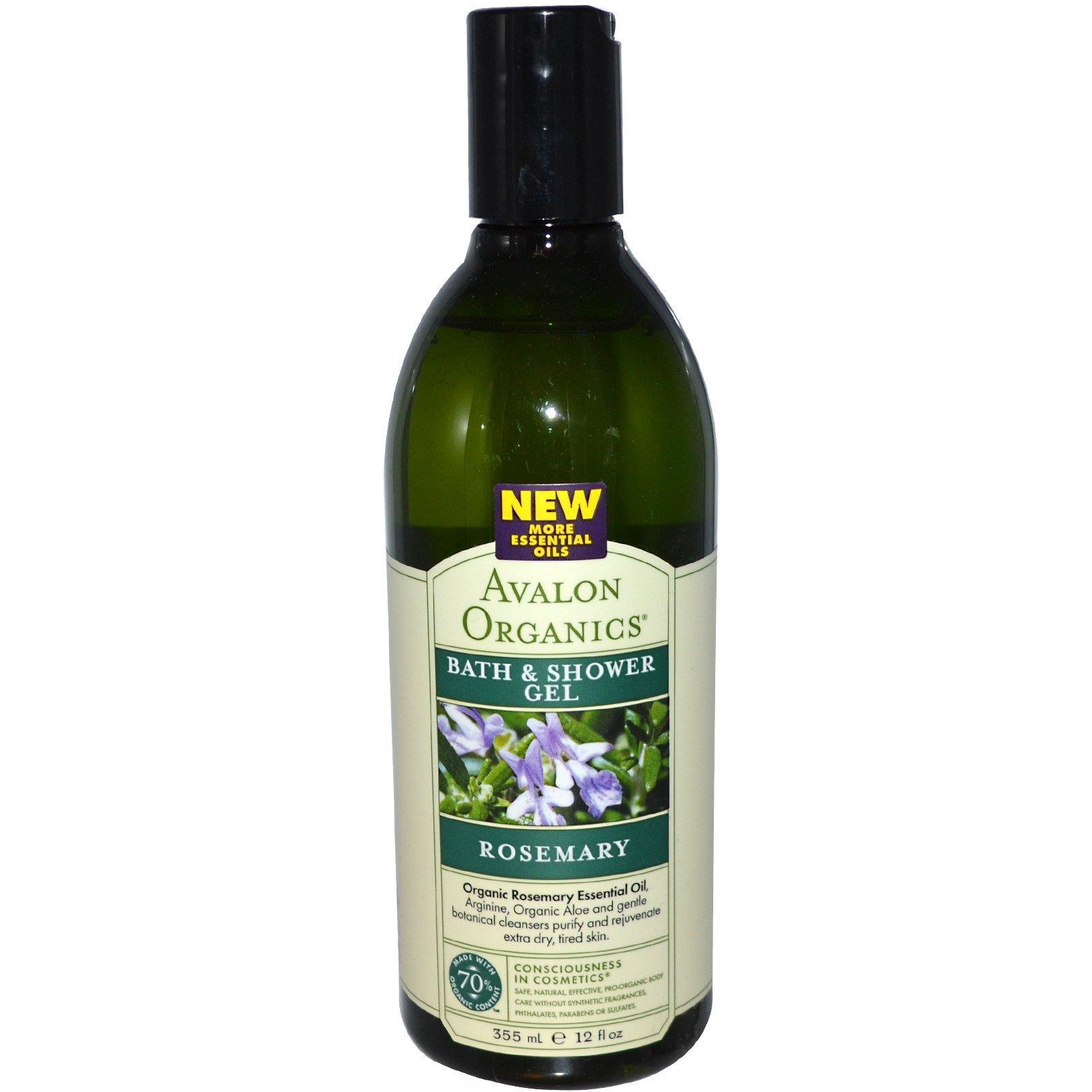 Avalon Organics, Ванна и гель для душа, розмарин, 12 жидких унций (355 мл)