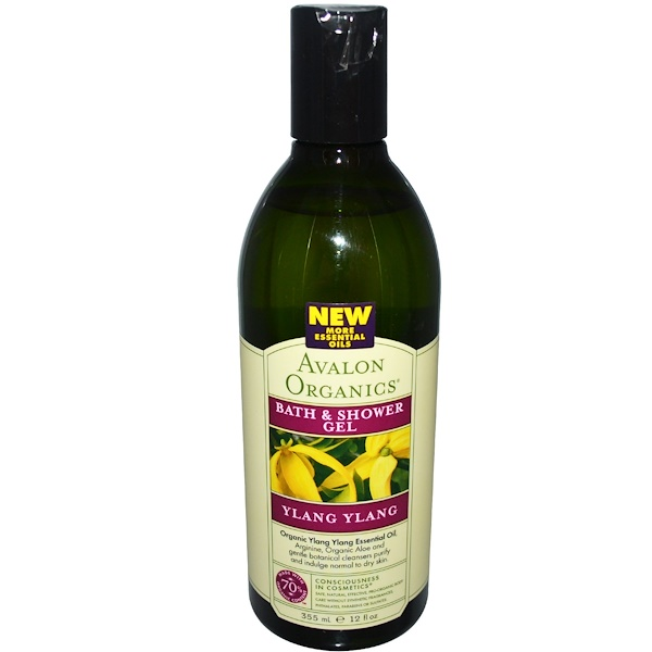 Avalon Organics, Bath & Shower Gel, Ylang Ylang, 12 fl oz (355 ml) (Discontinued Item)