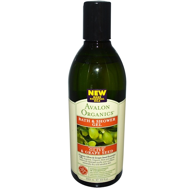 Avalon Organics, Bath & Shower Gel, Olive & Grape Seed, Fragrance Free, 12 fl oz (355 ml) (Discontinued Item)