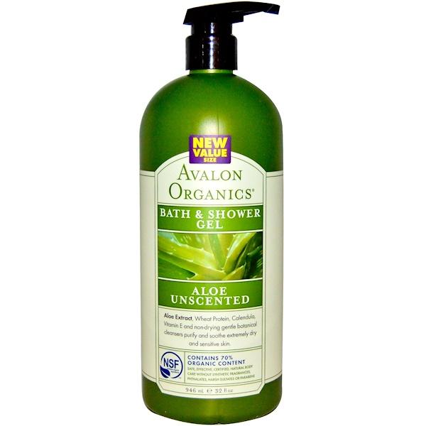 Avalon Organics, Bath & Shower Gel, Aloe Unscented, 32 fl oz (946 ml) (Discontinued Item)