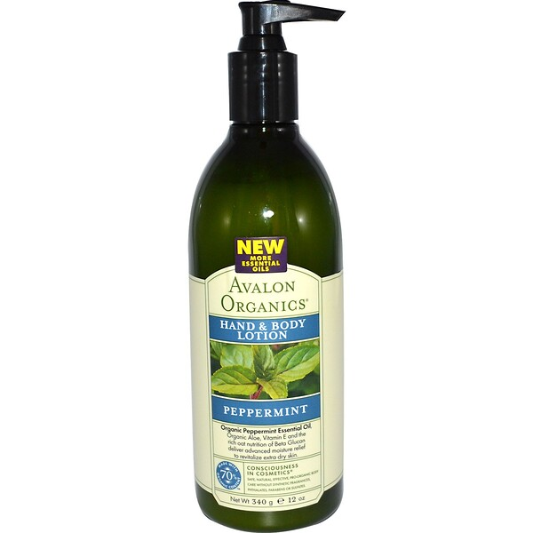 Avalon Organics, Hand & Body Lotion, Peppermint, 12 oz (340 ml) (Discontinued Item)