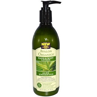 Avalon Organics, Hand & Body Lotion, Aloe Unscented, 12 oz (340 g)