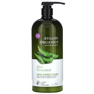 Avalon Organics, Hand & Body Lotion, Aloe Unscented, 32 oz (907 g)