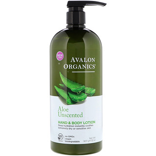Avalon Organics, Hand & Body Lotion, Aloe Unscented, 32 oz (907 g)