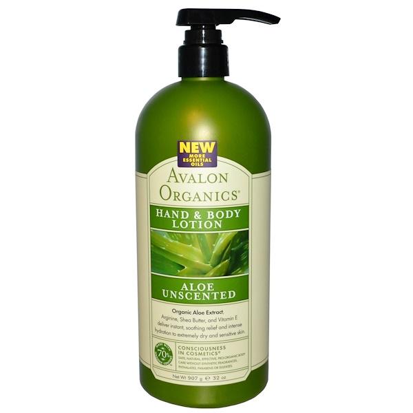 Avalon Organics, 有機無香料蘆薈手部身體潤膚乳液, 32 oz (907 g)