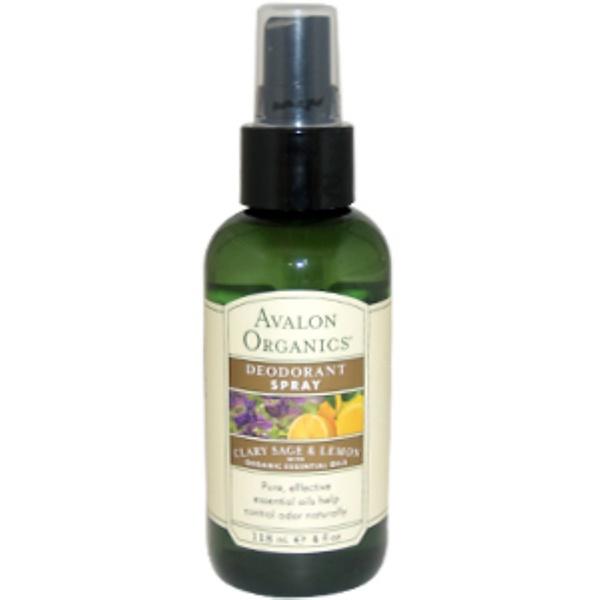 Avalon Organics, Deodorant Spray, Clary Sage & Lemon, 4 fl oz (118 ml) (Discontinued Item)