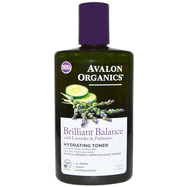 Avalon Organics, Brilliant Balance, With Lavender & Prebiotics, Hydrating Toner, 8 fl oz (237 ml) (Discontinued Item)