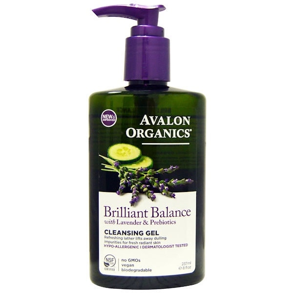 Avalon Organics, Brilliant Balance, With Lavender & Prebiotics, Cleansing Gel, 8 fl oz (237 ml) (Discontinued Item)