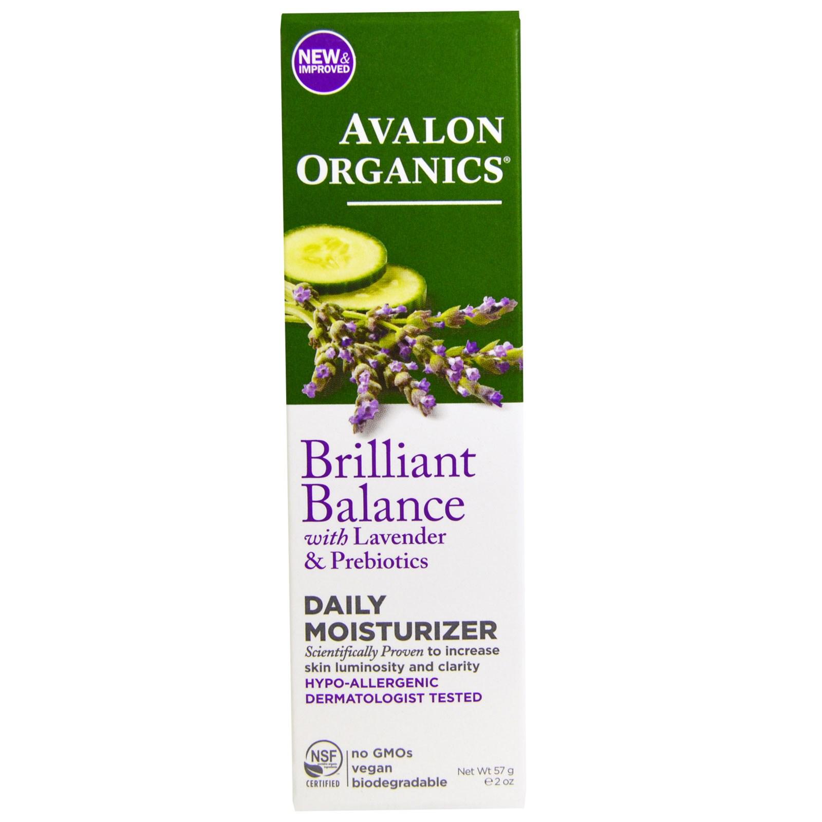 Avalon Organics Brilliant Balance with Lavender & Prebiotics Daily Moisturizer 2 oz (Pack of 2) Blackhead Remover Cleaner Deep Cleansing Peel off Face Mask, Black Mud, 50 mL