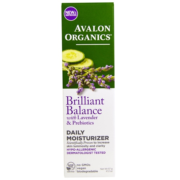 Avalon Organics, Brilliant Balance, With Lavender & Prebiotics, Daily Moisturizer, 2 oz (57 g)