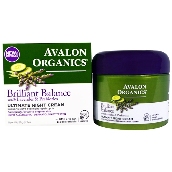 Avalon Organics, Ultimate Night Cream, 2 oz (57 g) (Discontinued Item)