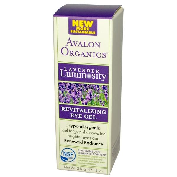 Avalon Organics, Revitalizing Eye Gel, Lavender Luminosity, 1 oz (28 g) (Discontinued Item)