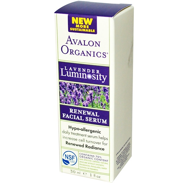 Avalon Organics, Renewal Facial Serum, Lavender Luminosity, 1 fl oz (30 ml) (Discontinued Item)
