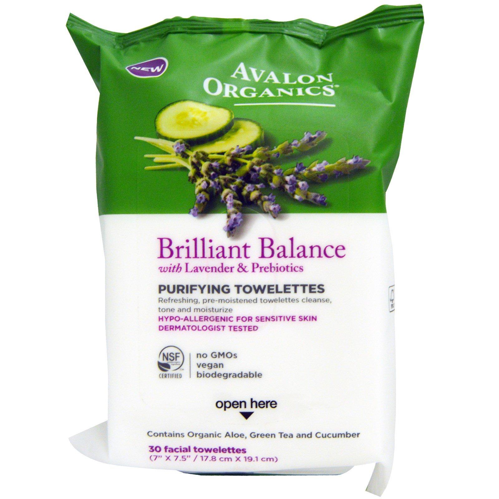 Avalon Organics, Блестящий баланс, очищающие салфетки, лаванда и пребиотики, 30 салфеток для лица