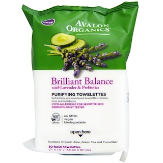 Avalon Organics, Brillilant Balance, With Lavender & Prebiotics, Purifying Towelettes, 30 Facial Towelettes