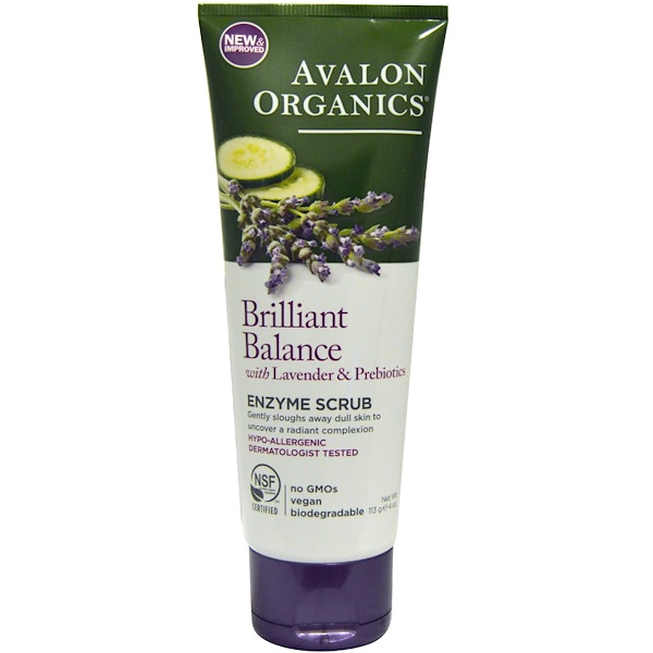 Avalon Organics, Brilliant Balance, With Lavender & Prebiotics, Enzyme Scrub, 4 oz (113 g)