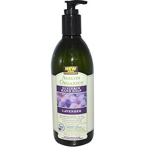 Avalon Organics, Глицериновое мыло для рук с ароматом лаванды, 12 жидких унций (355 мл)
