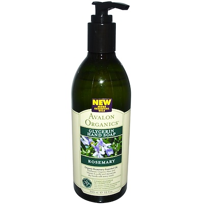 Avalon Organics 迷迭香甘油肥皂, 12 fl oz (355 ml)