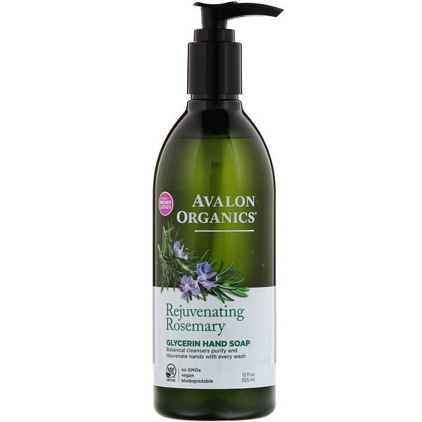 Avalon Organics, Glycerin Hand Soap, Rejuvenating Rosemary, 12 fl oz (355 ml)