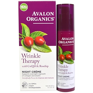 Avalon Organics, Wrinkle Therapy, With CoQ10 & Rosehip, Night Creme, 1.75 oz (50 g)