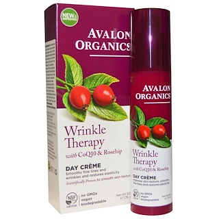 Avalon Organics, CoQ10 리페어, 윙클 디펜스 크림, 1.75 온즈 (50 g)