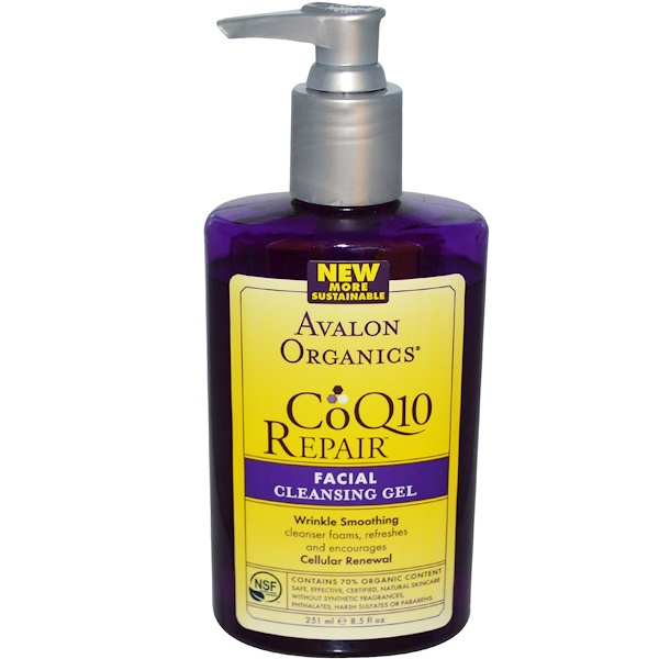 Avalon Organics, CoQ10 Repair, Facial Cleansing Gel, 8.5 fl oz (251 ml) (Discontinued Item)