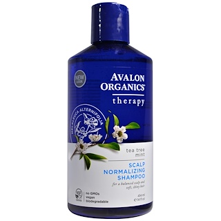 Avalon Organics, Scalp Normalizing Shampoo, Tea Tree Mint Therapy, 14 fl oz (414 ml)