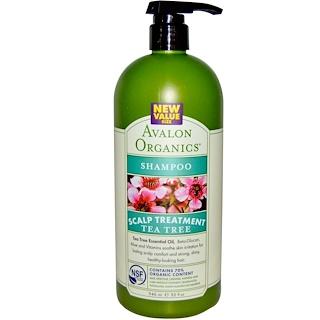 Avalon Organics, Champú, Tratamiento para el Cuero Cabelludo, Árbol de Té, 32 fl oz (946 ml)