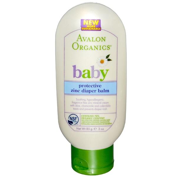Avalon Organics, Baby, Protective Zinc Diaper Balm, 3 oz (85 g) (Discontinued Item)
