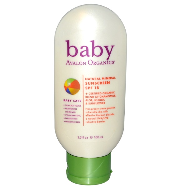 Avalon Organics, Baby, Natural Mineral Sunscreen, SPF 18, 3.5 fl oz (100 ml) (Discontinued Item)