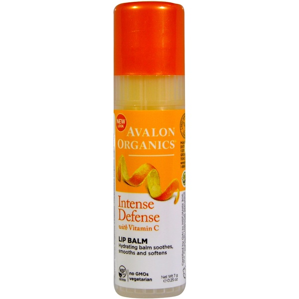 Avalon Organics, Intense Defense, With Vitamin C, Lip Balm, 0.25 oz (7 g)