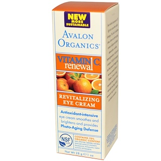 Avalon Organics, Vitamin C Renewal, Revitalizing Eye Cream, 1 oz (28 g)