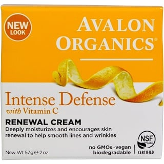 Avalon Organics, Intense Defense, crema renovadora con vitamina C, 2 oz (57 g)