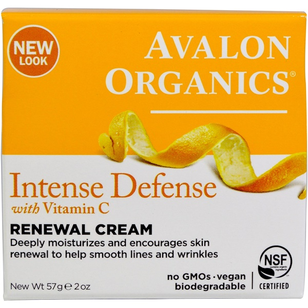 Avalon Organics, Крем Intense Defence Renewal Cream с витамином C, 57 г (2 унции)