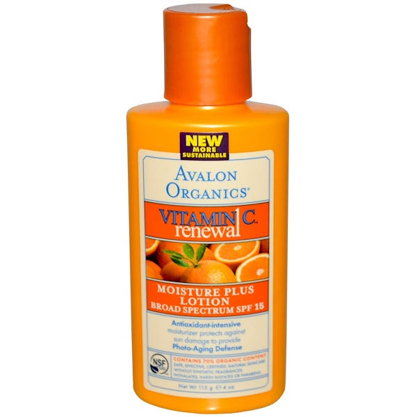 Avalon Organics, Vitamin C Renewal, Moisture Plus Lotion, Broad Spectrum SPF 15, 4 oz (113 g) (Discontinued Item)