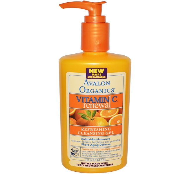 Avalon Organics, Intense Defense with Vitamin C, Cleansing Gel, 8.5 fl oz (251 ml)